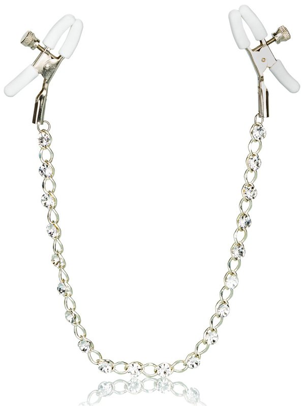 Зажимы на соски с цепочкой Crystal Chain Nipple Clamps – золотистый белым