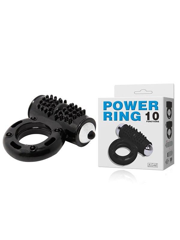 Эрекционное виброкольцо Power Ring с дополнительным стимулятором – черный