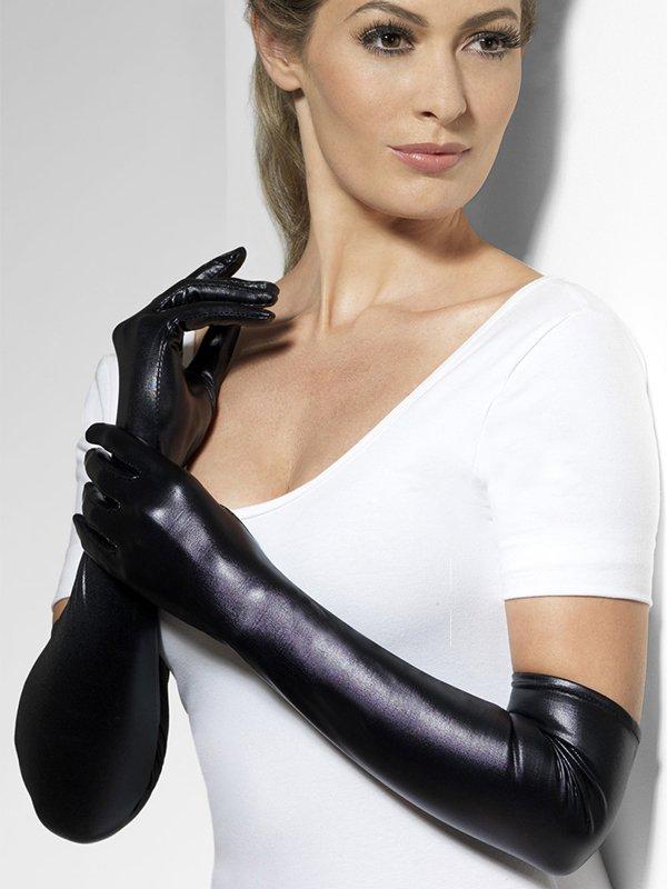 Длинные перчатки Госпожи с «мокрым эффектом» (Fever) – черный цена и фото