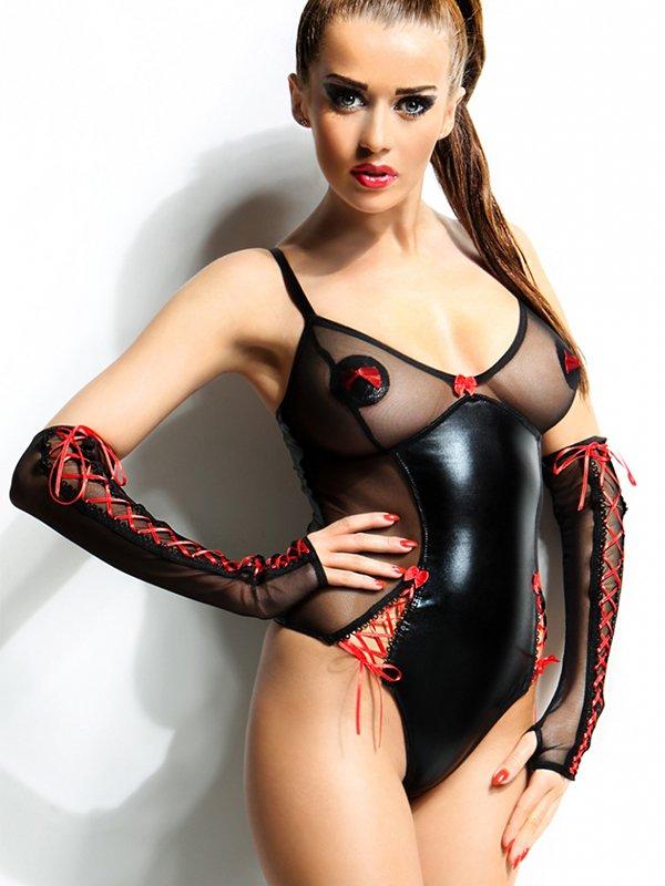 Черное боди с полупрозрачными вставками, красным плетением и перчатками Demoniq Hannah – S/M