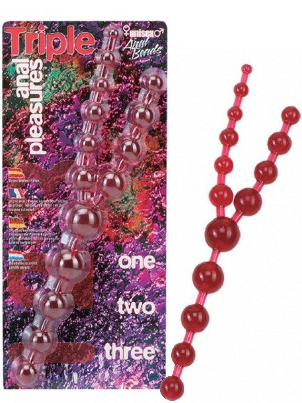 Тройные анальные шарики Triple Anal Pleasures – красный