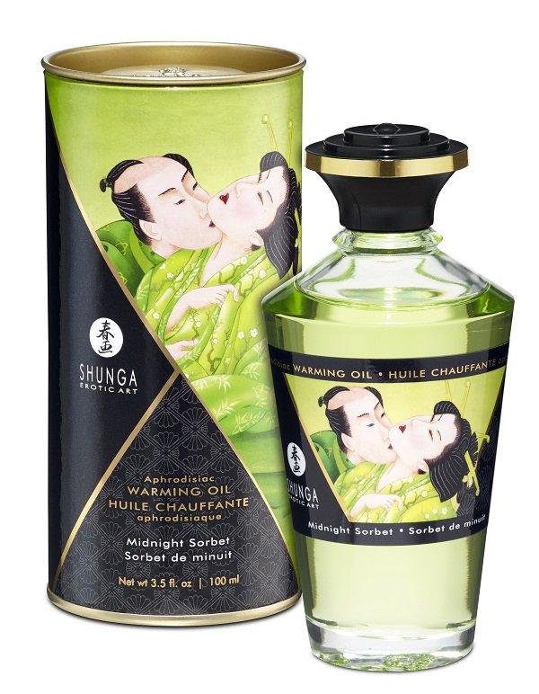 Съедобное разогревающее массажное масло Shunga Afrodisiac «Полночный щербет» - 100 мл масло интимное массажное shunga полночный щербет 100 мл