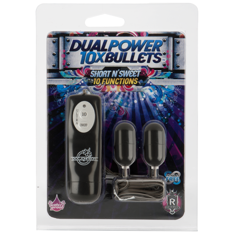 Doc Johnson Две вибропули 10X Dual Power Bullets - Short n Sweet  черный