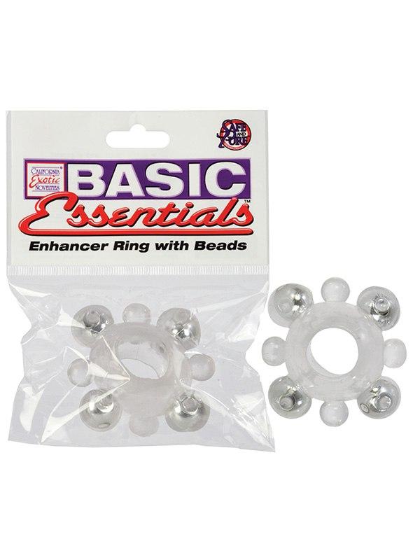 Эрекционное кольцо Basic Essentials - Enhancer Ring with Beads эрекционное виброкольцо bathmate vibe ring eight
