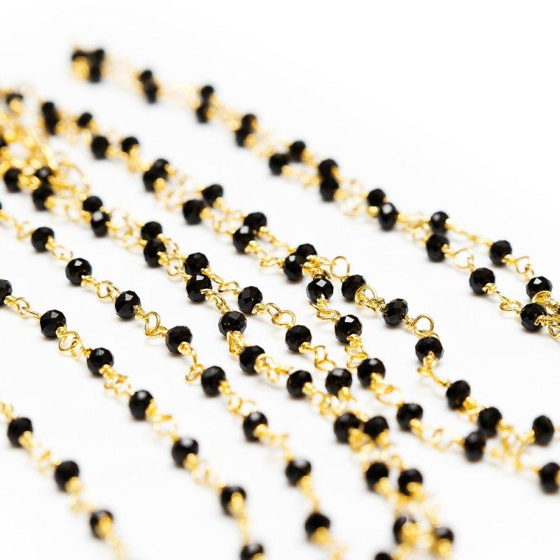 Золотистое колье на тело ручной работы с черным агатом Dolce Piccante Enigma - S
