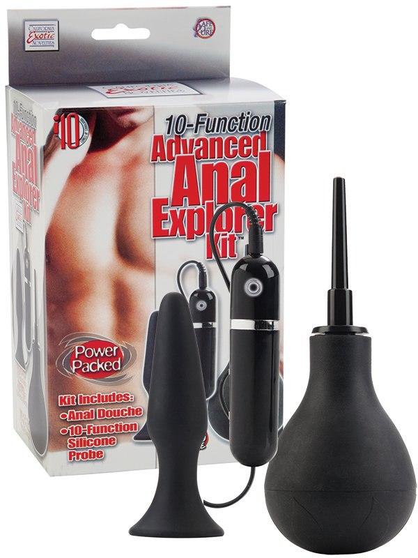 Анальный набор 10-Function Advanced Anal Explorer Kit с вибрацией – черный