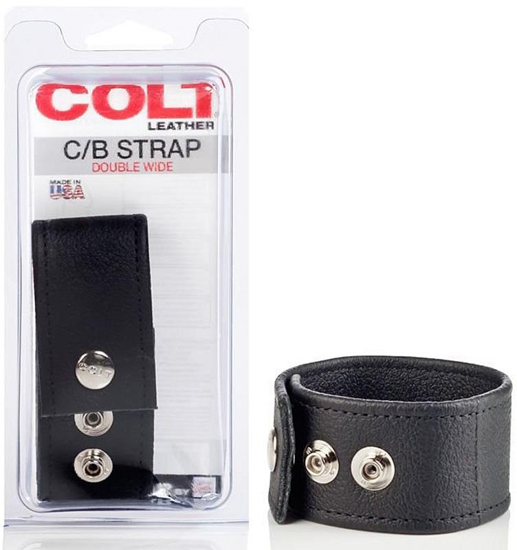 Кожаная утяжка на пенис Colt C/B Strap Double Wide – черный