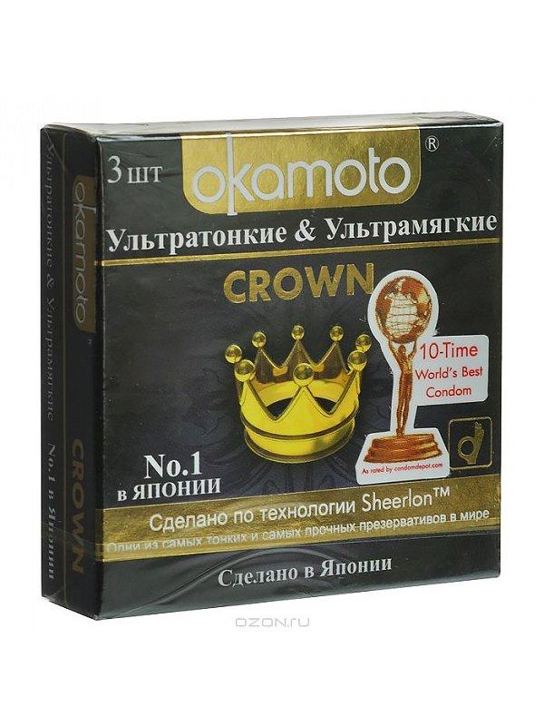 Ультратонкие презервативы Okamoto Crown классические  3 шт