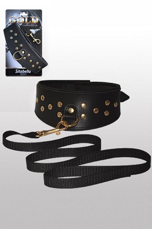 Кожаный ошейник со шлейкой Sitabella Gold Collection – черный с золотым