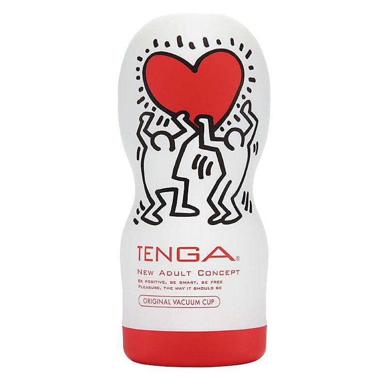 Мастурбатор Tenga&Keith Haring Deep Throat - красный с белым