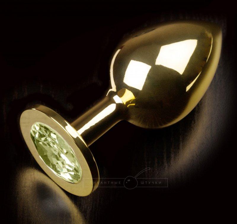 Большая анальная пробка 252 Large Gold Yellow с кристаллом – золотой с желтым
