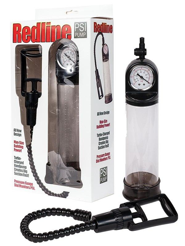 Вакуумная помпа мужская Redline Pump с манометром – черная