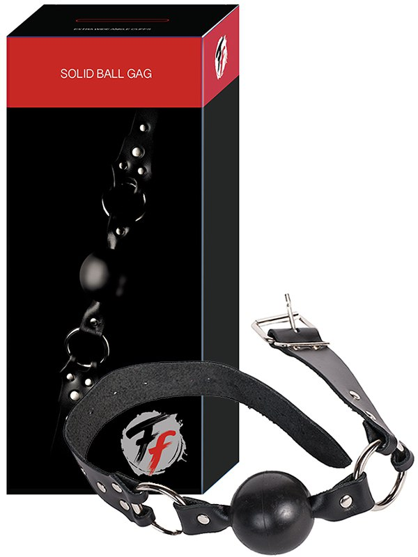 Кляп-шар Solid Ball Gag кожаный  черный (СК-Визит, Россия)