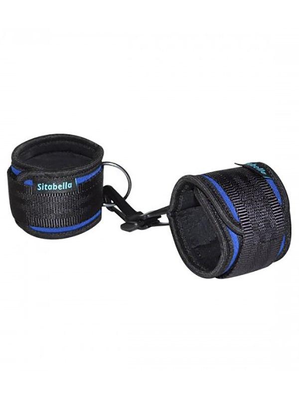 Неопреновые наручники Sitabella на липучках – синий с черным наручники из неопрена розового цвета