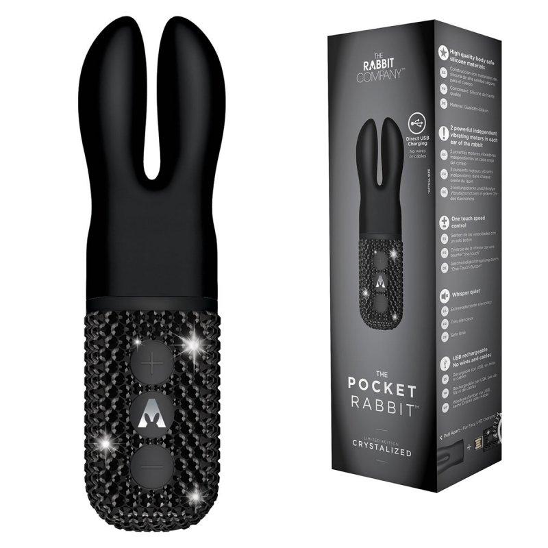 Карманный вибромассажёр-кролик с ушками и кристаллами The Rabbit Company Pocket Crystalized – чёрный