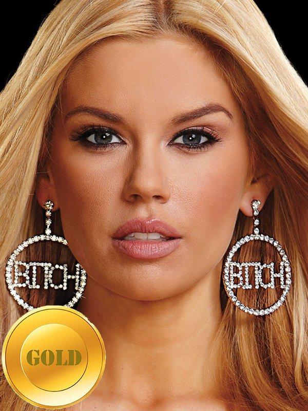 Большие круглые серьги Ann Devine с надписью Bitch – золотой