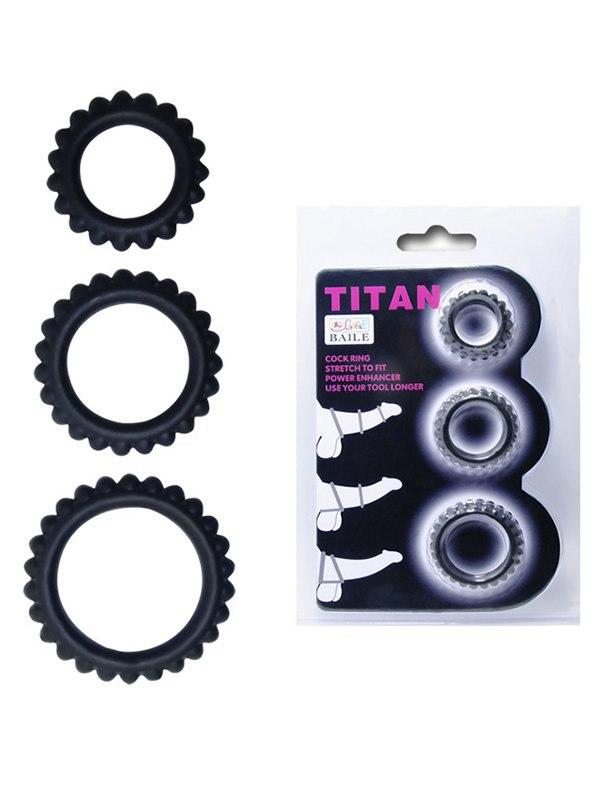 Набор из 3-х ребристых эрекционных колец Titan – черный