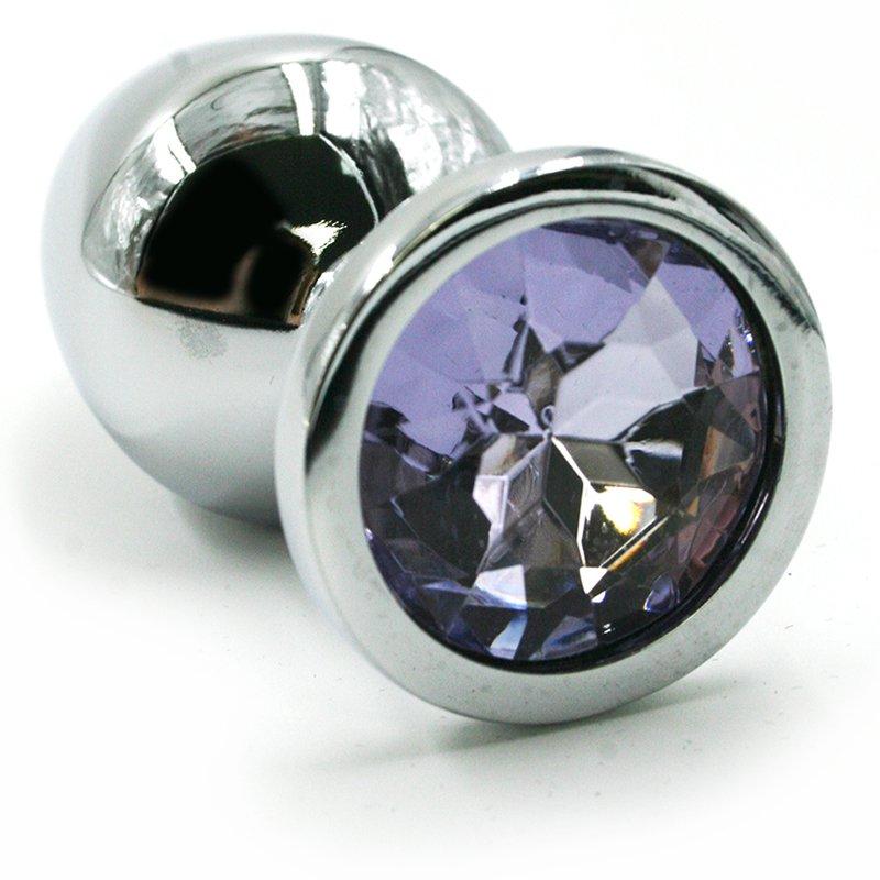 Средняя алюминиевая анальная пробка Kanikule Medium с кристаллом – серебристый с лавандовым runyu rosebud butt plug medium серебристый прозрачный средняя анальная пробка с кристаллом