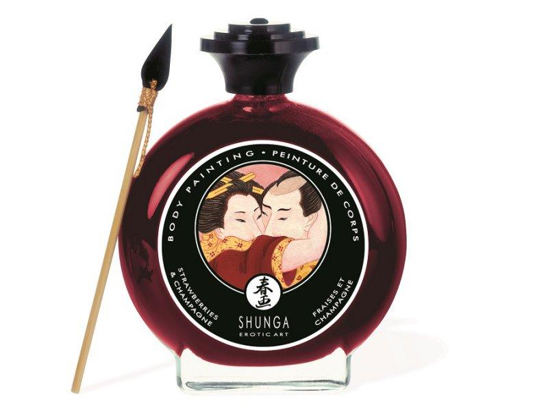 Съедобная крем-краска для тела Shunga Body Painting «Шампанское и клубника» - 100 мл