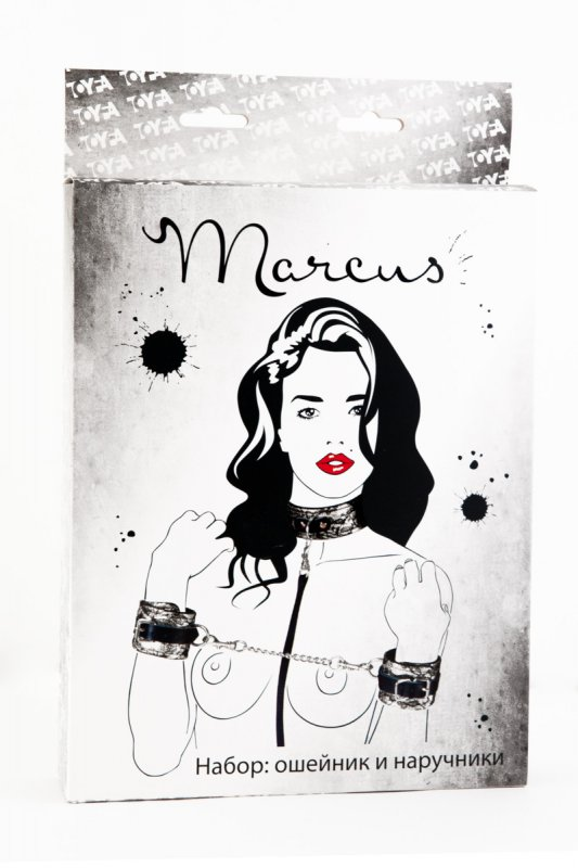 Кружевной набор ошейник и наручники TOYFA Marcus – серебристый
