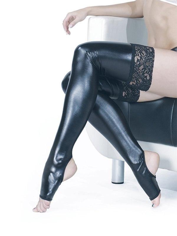 Глянцевые чулки на широкой кружевной резинке с открытыми пальчиками Liquid Glam Coquette – черный