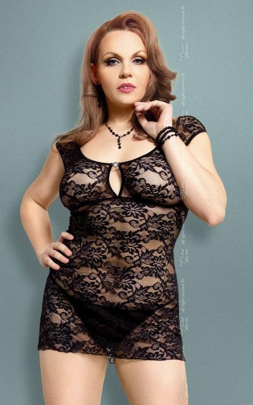 Комплект ЛАЙНЛИ черного цвета: ажурная сорочка и стринги – XXXL