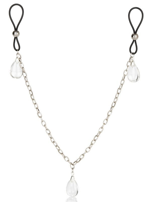 Зажимы на соски Chain Jewelry - Crystal на цепочке с подвесками – прозрачный