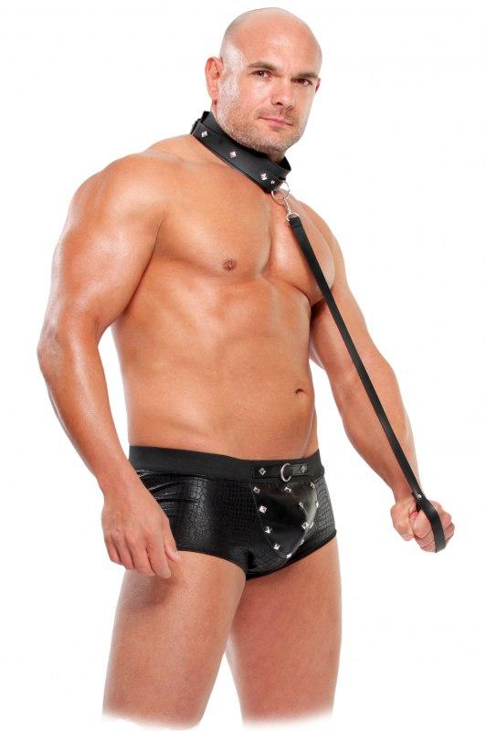 Здесь можно купить   Костюм раба с ошейником и поводком Slave Set - L/XL Эротические костюмы XL
