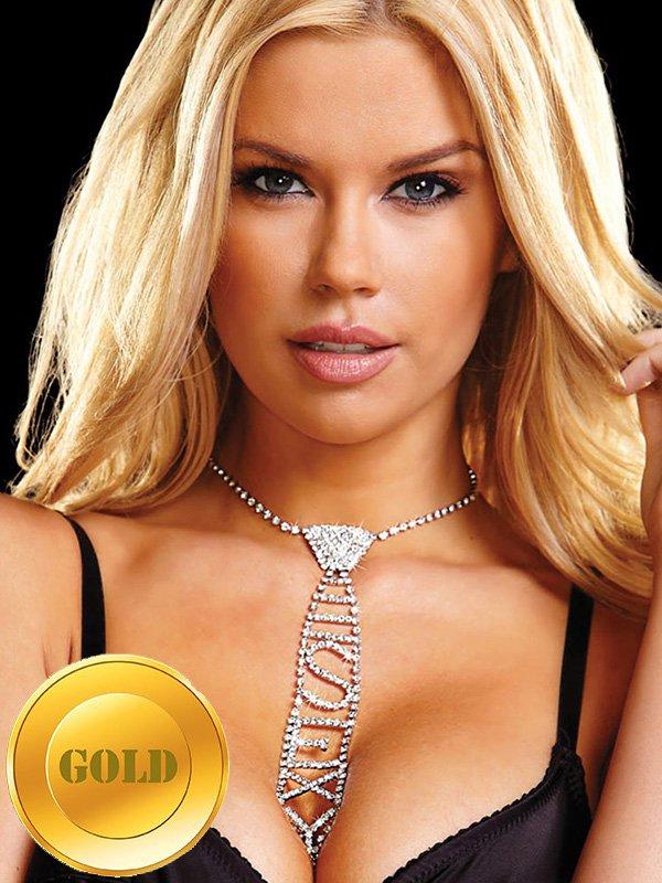 Галстук из кристаллов Ann Devine - Sexy Rhinestone Tie  золотой