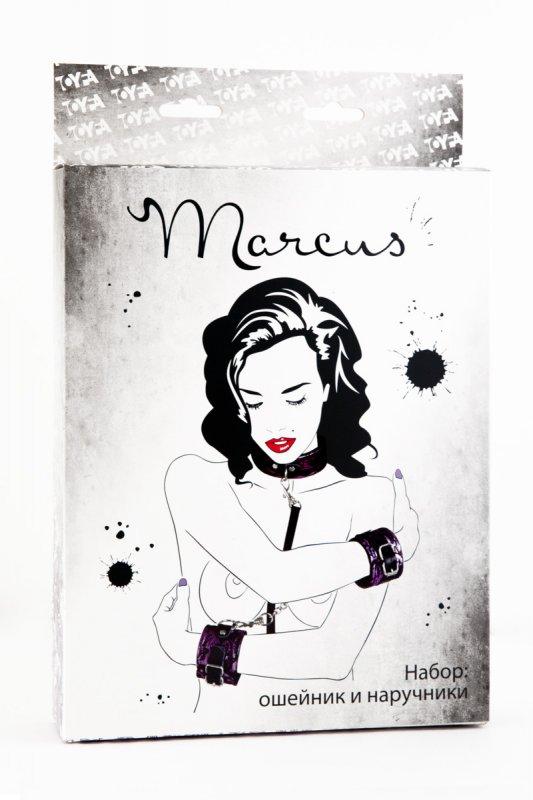 Кружевной набор ошейник и наручники TOYFA Marcus – пурпурный