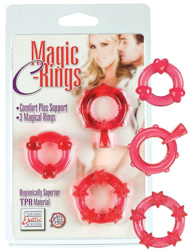 Набор из 3-х эрекционных текстурированных колец Magic C-Rings – красный