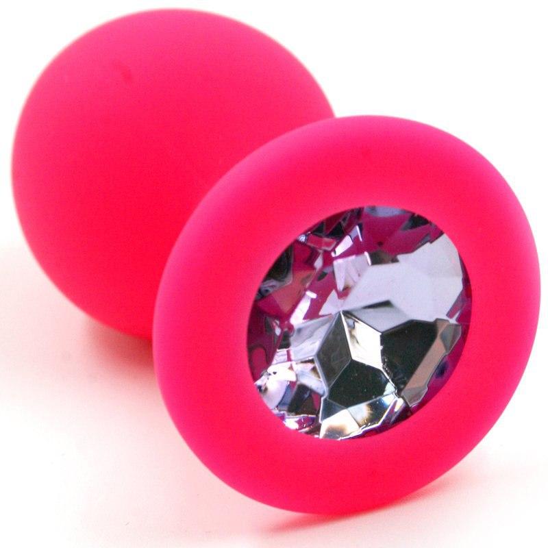 Средняя силиконовая анальная пробка Kanikule Medium с кристаллом – розовый со светло розовым