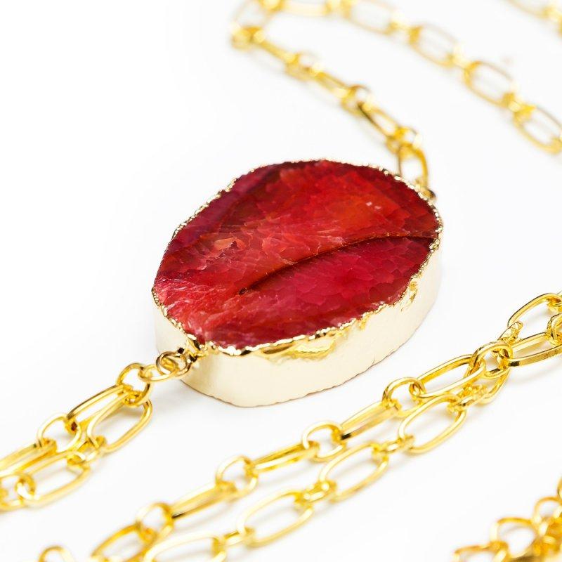 Золотистое колье на тело ручной работы с натуральным камнем Dolce Piccante Golden Vento - S