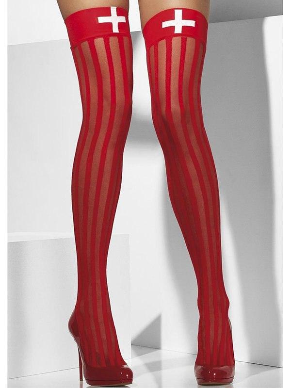 Чулки Роковой Медсестры в вертикальную полосочку (Fever) – красный soft line чулки белые в сеточку со швом