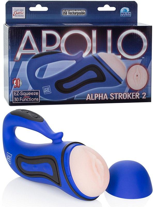 Мастурбатор вагина Alpha Stroker 2 с вибрацией  голубой
