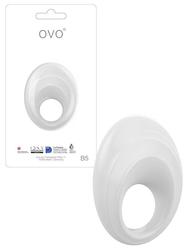 Эрекционное виброкольцо Ovo B5 с рельефным стимулятором клитора – белый