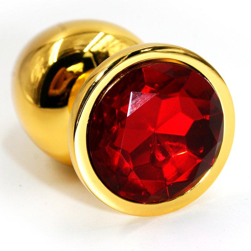 Маленькая алюминиевая анальная пробка Kanikule Small с кристаллом – золотистый с красным
