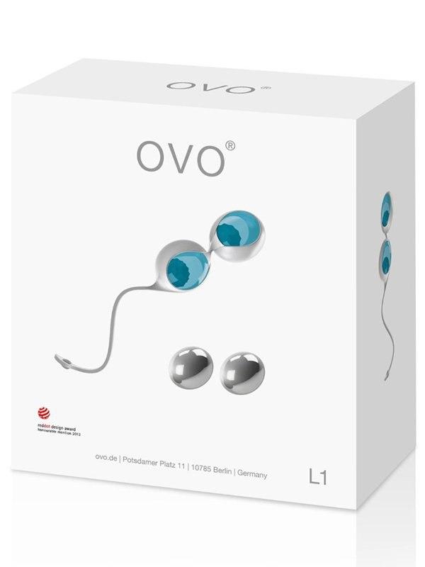 Набор вагинальных шариков Ovo L1 с держателем – голубой