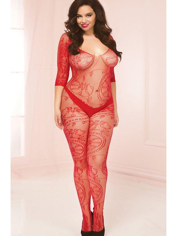 Кэтсьюит Seven'til Midnight с необычным орнаментом open-crotch – красный, Queen Size