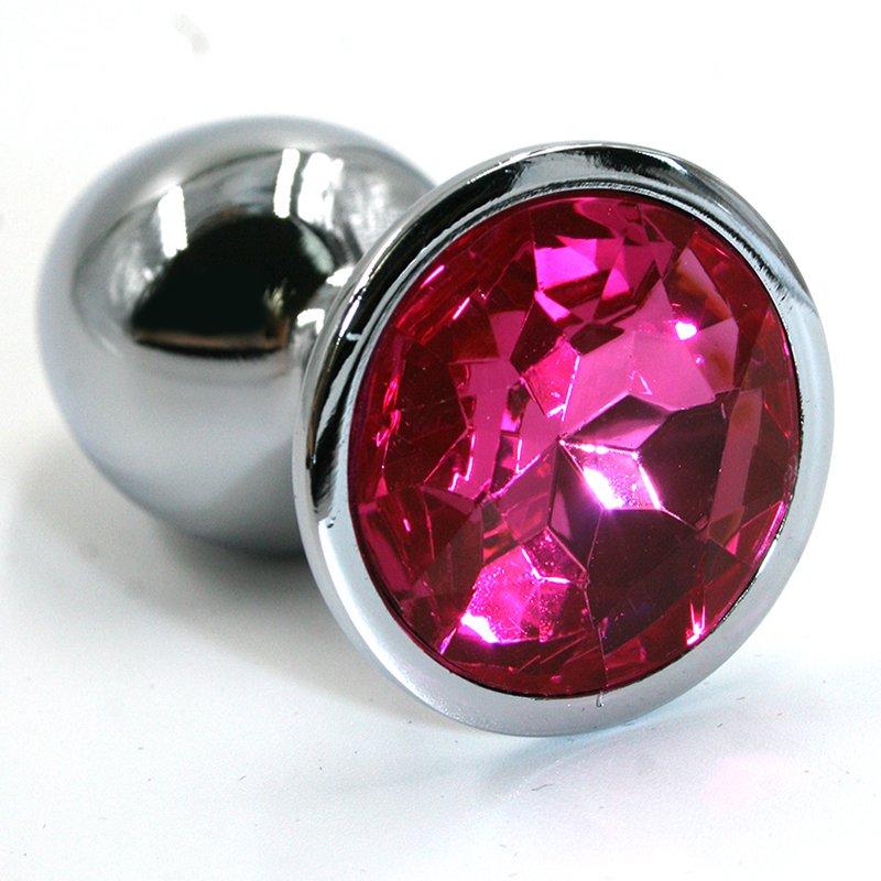 Средняя алюминиевая анальная пробка Kanikule Medium с кристаллом – серебристый с розовым