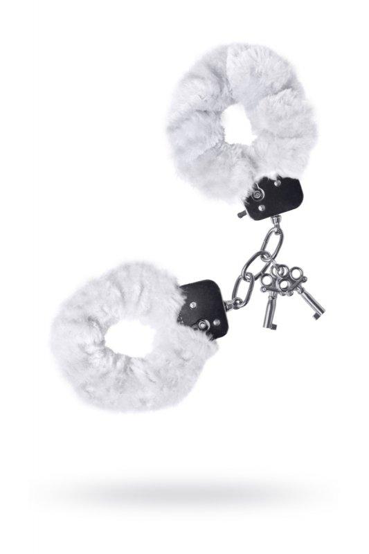 Металлические наручники с мехом TOYFA - белый