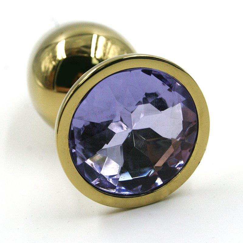Маленькая алюминиевая анальная пробка Kanikule Small с кристаллом – золотистый с лавандовым