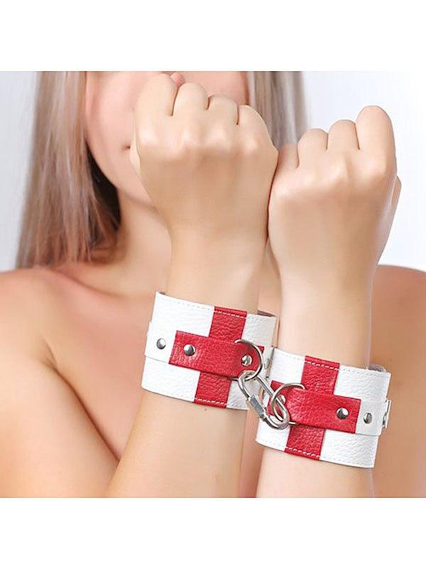 Наручники Sitabella с крестами - белый, красный