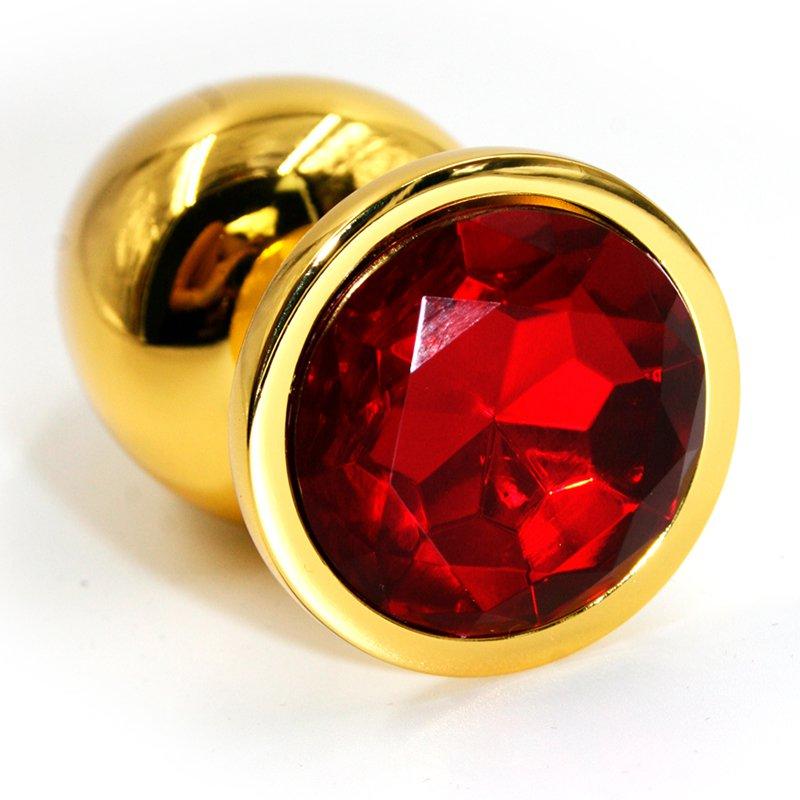 Большая алюминиевая анальная пробка Kanikule Large с кристаллом – золотистый с красным