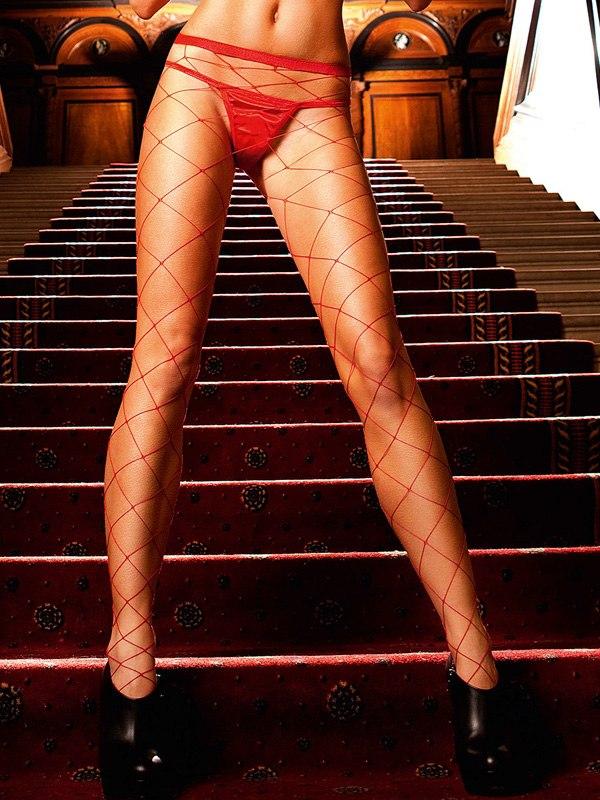 Красные колготки в крупную сетку Spanish Dreams от Он и Она