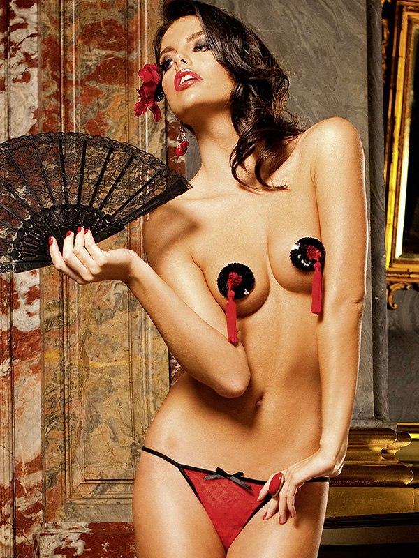 Трусики с узором в виде сердечек  красный/черный, M (Baci Lingerie, США)