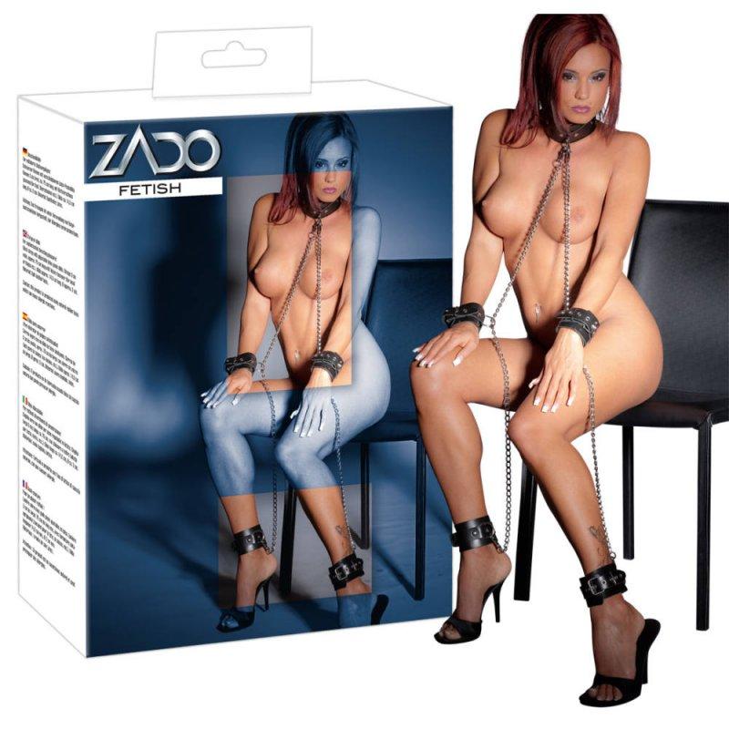 Набор для бондажа из натуральной кожи Zado All-over - черный