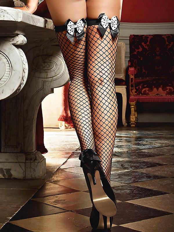 Чулки Careless French Maid высокие в крупную сетку – черные