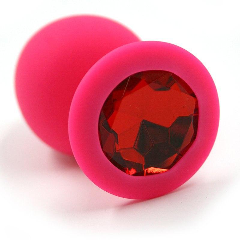 Большая силиконовая анальная пробка Kanikule Large с кристаллом – розовый с красным анальная пробка большая силиконовая розовая синий страз