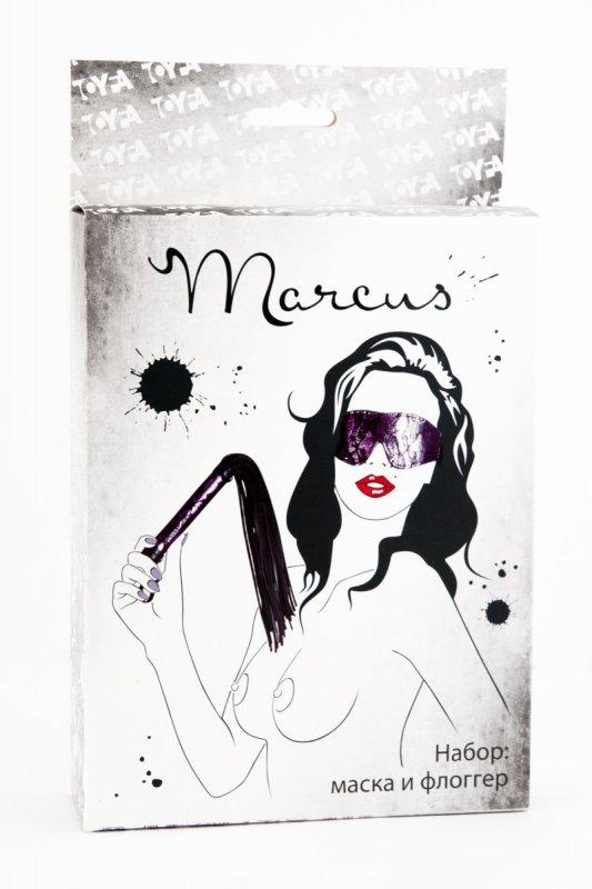 Кружевной набор маска и флоггер TOYFA Marcus – пурпурный